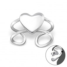 Heart - 925 Sterling Silver Ear Cuffs and Ear pins A4S29213