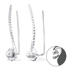 Flower - 925 Sterling Silver Ear Cuffs and Ear pins A4S29386