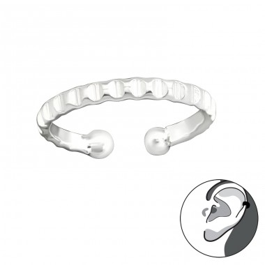 Textured - 925 Sterling Silver Ear Cuffs and Ear pins A4S30577