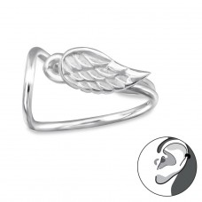 Wing - 925 Sterling Silver Ear Cuffs and Ear pins A4S30583