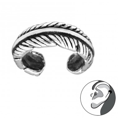 Feather - 925 Sterling Silver Ear Cuffs and Ear pins A4S30584