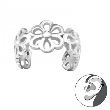 Flower - 925 Sterling Silver Ear Cuffs and Ear pins A4S30587