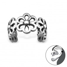 Flower - 925 Sterling Silver Ear Cuffs and Ear pins A4S30588