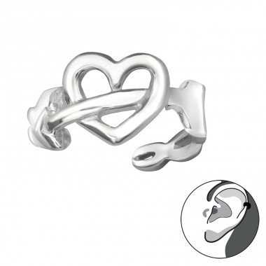 Heart And Arrow - 925 Sterling Silver Ear Cuffs and Ear pins A4S30599