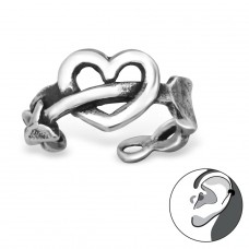 Heart And Arrow - 925 Sterling Silver Ear Cuffs and Ear pins A4S30600