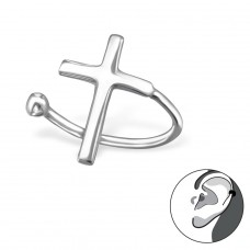 Cross - 925 Sterling Silver Ear Cuffs and Ear pins A4S30913