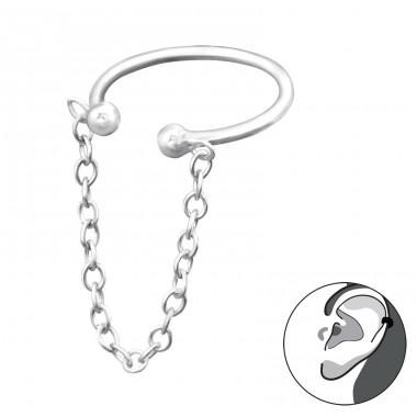 Hanging Chain Ear Cuff - 925 Sterling Silver Ear Cuffs and Ear pins A4S31134