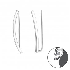 Curved - 925 Sterling Silver Ear Cuffs and Ear pins A4S31996