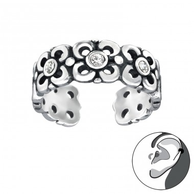 Flower - 925 Sterling Silver Ear Cuffs and Ear pins A4S33001