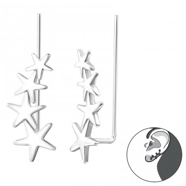 Stars - 925 Sterling Silver Ear Cuffs and Ear pins A4S33775