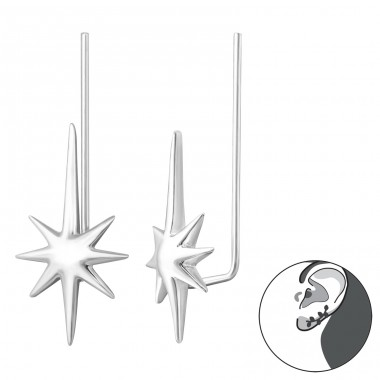Star - 925 Sterling Silver Ear Cuffs and Ear pins A4S33776