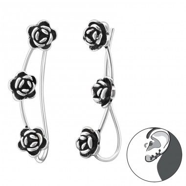 Rose - 925 Sterling Silver Ear Cuffs and Ear pins A4S34862
