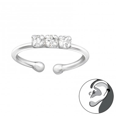 3 stones - 925 Sterling Silver Ear Cuffs And Ear Pins A4S34955