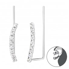 Curved - 925 Sterling Silver Ear Cuffs and Ear pins A4S35592