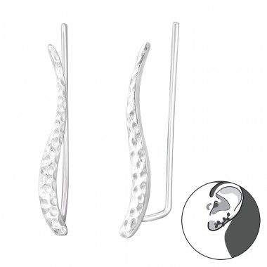 Wave - 925 Sterling Silver Ear Cuffs and Ear pins A4S37354