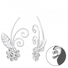 Flower - 925 Sterling Silver Ear Cuffs and Ear pins A4S37406