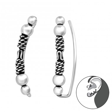 Bali - 925 Sterling Silver Ear Cuffs and Ear pins A4S37841