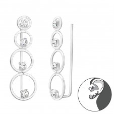 Circles - 925 Sterling Silver Ear Cuffs and Ear pins A4S37843