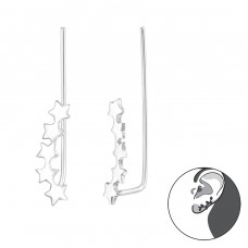 Stars - 925 Sterling Silver Ear Cuffs and Ear pins A4S38118