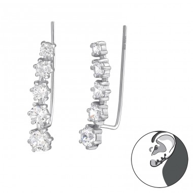 Sparkling - 925 Sterling Silver Ear Cuffs and Ear pins A4S38120