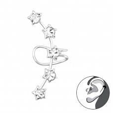 Stars - 925 Sterling Silver Ear Cuffs and Ear pins A4S38492