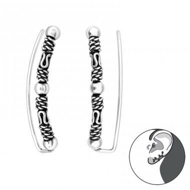 Bali - 925 Sterling Silver Ear Cuffs and Ear pins A4S39089