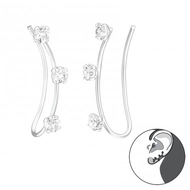 Triple Stone - 925 Sterling Silver Ear Cuffs and Ear pins A4S39113