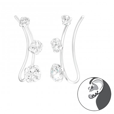 Triple Stone - 925 Sterling Silver Ear Cuffs and Ear pins A4S39116