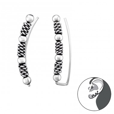 Bali - 925 Sterling Silver Ear Cuffs and Ear pins A4S39542
