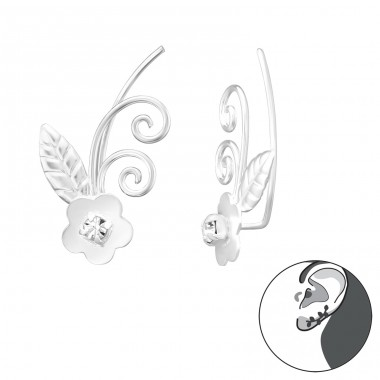 Flower - 925 Sterling Silver Ear Cuffs and Ear pins A4S39543