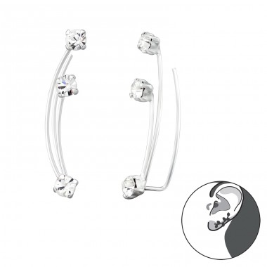 Geometric - 925 Sterling Silver Ear Cuffs and Ear pins A4S39545
