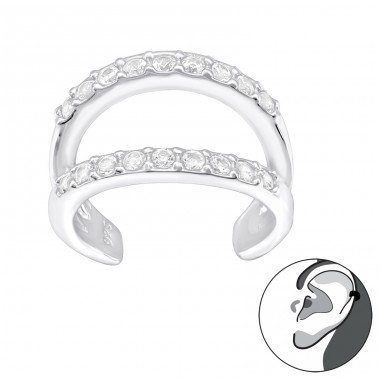Double Line - 925 Sterling Silver Ear Cuffs and Ear pins A4S40141