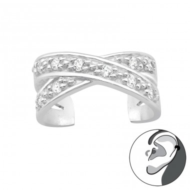 Cross - 925 Sterling Silver Ear Cuffs and Ear pins A4S40151