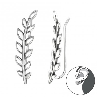 Olive leafs - 925 Sterling Silver Ear Cuffs And Ear Pins A4S40637