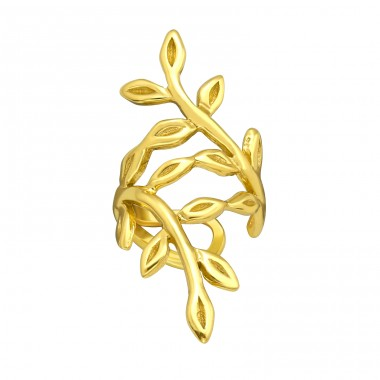 Golden branch - 925 Sterling Silver Ear Cuffs And Ear Pins A4S40683
