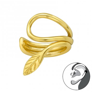 Golden Leaf - 925 Sterling Silver Ear Cuffs And Ear Pins A4S40921