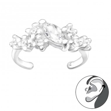 Marquise Zirconia - 925 Sterling Silver Ear Cuffs And Ear Pins A4S41068