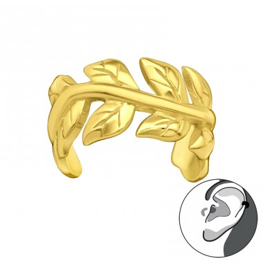 Golden Laurel leaf - 925 Sterling Silver Ear Cuffs And Ear Pins A4S41151