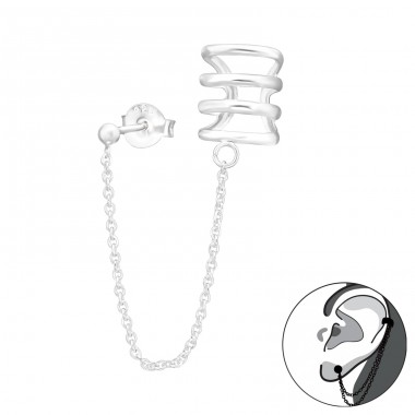 Hanging chain with earcuff - 925 Sterling Silver Ear Cuffs And Ear Pins A4S41606