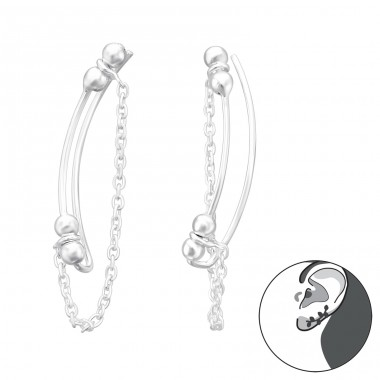 Hanging Chain - 925 Sterling Silver Ear Cuffs and Ear pins A4S41622