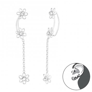 Hanging Flower with chain - 925 Sterling Silver Ear Cuffs And Ear Pins A4S41623