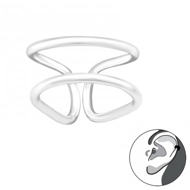 Double Line - 925 Sterling Silver Ear Cuffs and Ear pins A4S41685