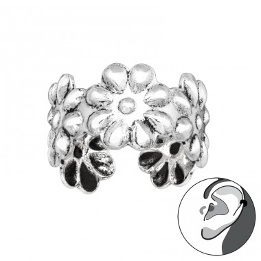 Flower - 925 Sterling Silver Ear Cuffs and Ear pins A4S41689