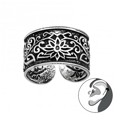Flower oxydized - 925 Sterling Silver Ear Cuffs And Ear Pins A4S41690