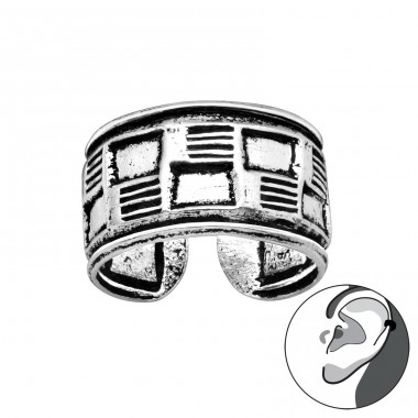 Rattan square shape oxydized - 925 Sterling Silver Ear Cuffs And Ear Pins A4S41691