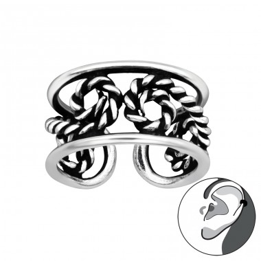 Rope oxydized - 925 Sterling Silver Ear Cuffs And Ear Pins A4S41692