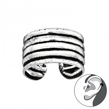 5 stripes oxydized - 925 Sterling Silver Ear Cuffs And Ear Pins A4S41694