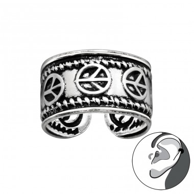 Peace sign oxydized - 925 Sterling Silver Ear Cuffs And Ear Pins A4S41697