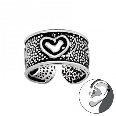 Heart - 925 Sterling Silver Ear Cuffs and Ear pins A4S41703