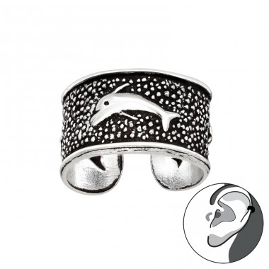 Dolphin - 925 Sterling Silver Ear Cuffs and Ear pins A4S41705
